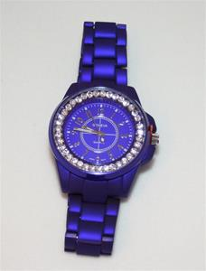 Round face, crystal surround Ladies Link Watch