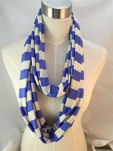 Lavender and Ivory Stripped Infinity Scarf