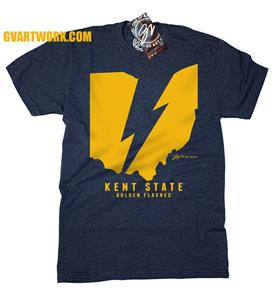 Kent State Ohio Flash Lightning Bolt Unisex Tee