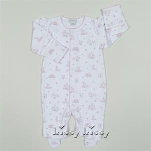 Kissy Kissy Bunches of Bunnies Print Footie Pink