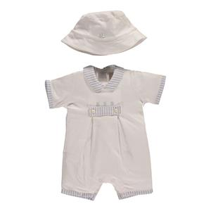 Emile Et Rose Romper With Stripe Trim And 3 Bears