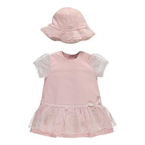 Emile Et Rose Jersey Dress With Embroidered Overlay And Sun Hat