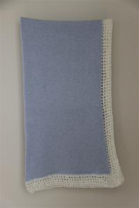 Gita Accessories Blue Blanket With Chenille Trim