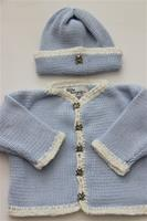 Gita Accessories Blue Cardigan With Chenille Trim And Hat