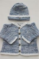 Gita Accessories Blue And White Tweed Cardigan And Hat