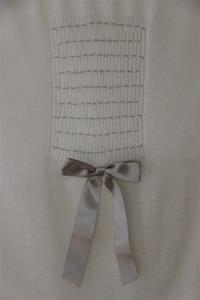 Antonella Rose White Blanket with Silver Bow