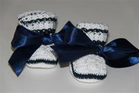 Antonella Rose White Booties With Navy Ribbon