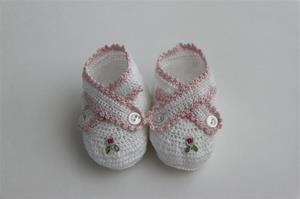 Antonella Rose White Booties with Pink Flower
