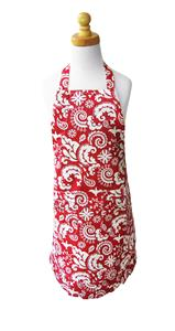 Mod Damask Red Girls' Ruffle Apron (girls' size large)
