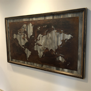 Rustic Grey World Map