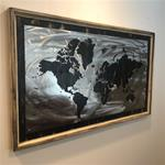 24x36 Rustic Black World Map-Brush