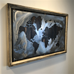 24X36 Dark Walnut-World Map-Brush