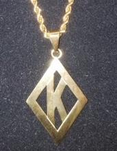 Kappa Diamond Pendant -Gold Polished