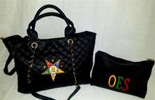 Quilted Purse with Zippered Bag in Black