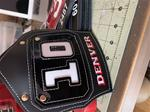 6.25 FDNY FF Insert shield with 1 line of hand painted text Satin leather with Patent Leather Insert.