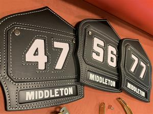 FDNY FIREFIGHTER SHIELD W/RECESSED TEXT PANNEL AND INSERT