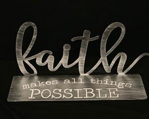 "Metal Cutout ""Faith"" Table Top Sign"