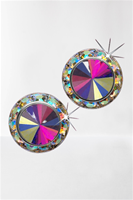 Competition Button Earrings (AB Crystals)