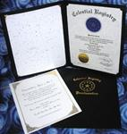 Economy Star Package, Certificate & Star Chart enclosed in a black paper folder
