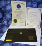 Standard Star Package, Certificate & Star Chart enclosed in a black vinyl envelope