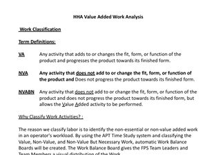 A012 Value Added -Non Value Added Work Study