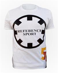 Reference Sport Round Circle Logo and Numbers White Cotton T-Shirt