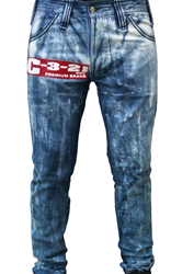 C-3-21 Scratch Light Wash Denim with Logo