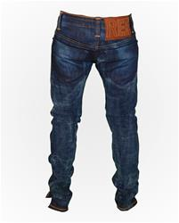Reference Sport Wash Slim-Fit Denim w/ Cut Knee and Number