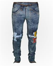 Reference Sport Wash Slim-fit Denim w/ Cut Knee and Numbers