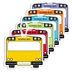 School Bus Backpack Tags with T-Lock - Pack of 50