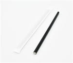 "7.75""x.25"" Black Paper Straw with Sleeve"