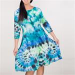 hand tie-dyed dresses blue/green