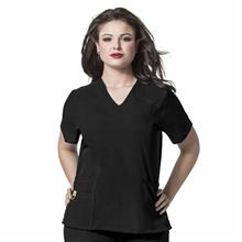 6105 Plus Size - Curved V-Neck Top