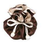 Brown & Ivory Satin Jewelry Pouch-9 Compartment