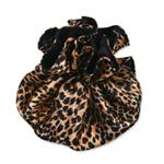 Cheetah (Gold & Black) Satin Jewelry Pouch-9 Compartments
