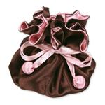 Brown & Pink Satin Jewelry Pouch-9 Compartment