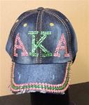 Sorority Rhinestone Denim (Distressed/Frayed) Cap