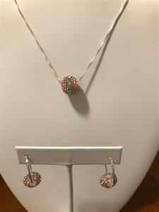 Pink and Green Crystal Colossal Bead Necklace/Earring Set