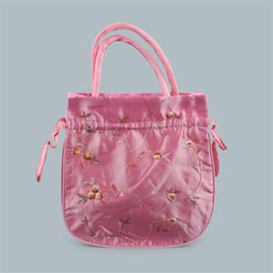 Large Pink Satin Jewelry Bag w/Drawstring-BONUS Pearl Bracelet
