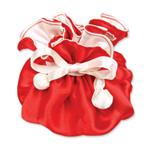 Red & Ivory Satin Jewelry Pouch-9 Compartment