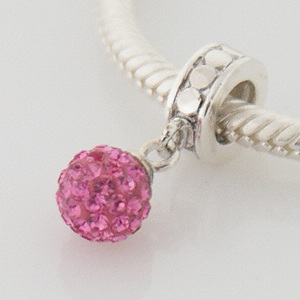 Crystal Ball Dangle-Hot Pink