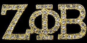 Zeta Phi Beta Gold Toned Jeweled Crystal Pin- (3/4 inch Tall)