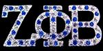 Zeta Phi Beta Silver Toned Royal Blue & White Crystal Variegated Pin- (3/4 inch Tall)