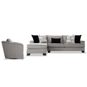 Bowery Gray Sleeper Sectional with Swivel Chair