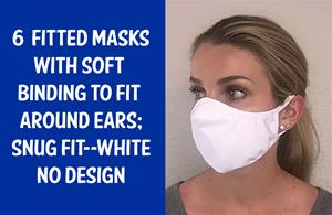 "#007 (6) ""FITTED"" face masks; WHITE"
