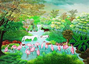 The Flamingoes and Horses
