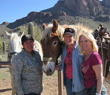 Rita, Rawhide, Kathy and Mindy out on the trail.