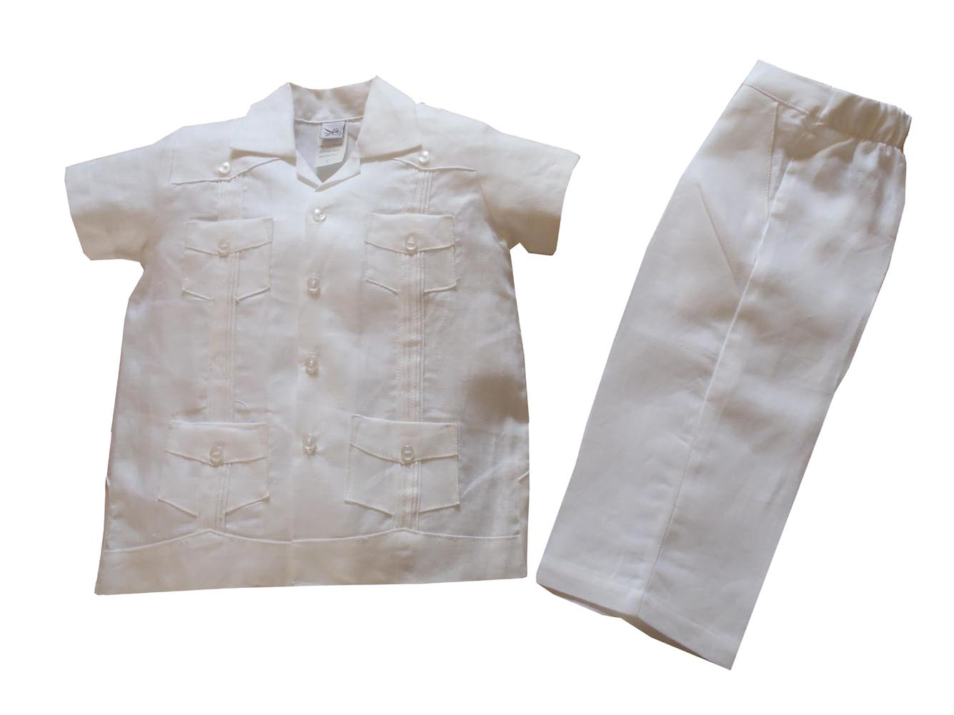 Boys Linen Guayabera Shirt And Pant Set In White By Aby S