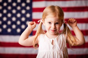 American Flag and Girl