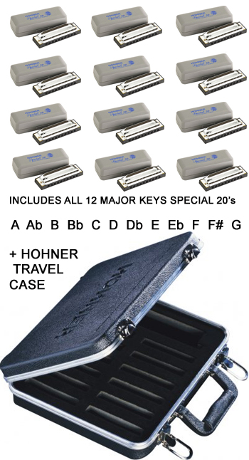 Hohner 12-Pack SPECIAL 20 Harmonicas Complete Set with FREE HOHNER HARD TRAVEL CASE